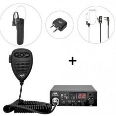 Kit Statie radio CB PNI Escort HP 8001L ASQ + PNI BT-DONGLE 8001 + Casca Bluetooth cu microfon PNI BT-MIKE 7500 cu PTT