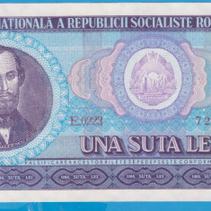(3) BANCNOTA ROMANIA - 100 LEI 1966, PORTRET NICOLAE BALCESCU. STARE FOARTE BUNA