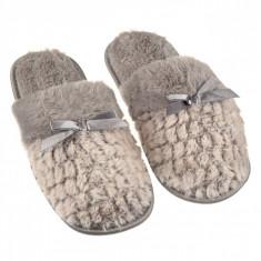 Papuci imblaniti de dama, pentru casa, model blana fluffy, marime 36-37, gri