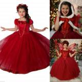 Rochie/rochita rosie printesa cu capa satin/ Scufita Roșie /craciunita