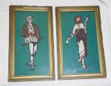 Goblen vechi Epoca Socialista lucrat manual doua tablouri Taran si Taranca