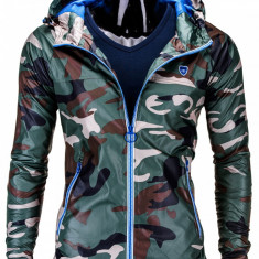 Jacheta pentru barbati din fas stil militar army slim fit cu fermoar si gluga C203 camuflaj