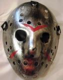 Masca Jason Voorhees plastic argintie, Masura unica, Argintiu