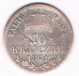 Moneda 10 krajczar 1871 GYF - Ungaria, 1,66 g argint 0,4000, Alba Iulia!, Europa