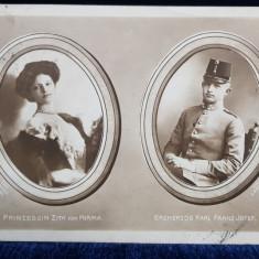 Printesa Zita von Parma si Arhiducele Karl Franz Josef - CP Ilustrata