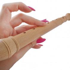 Jucarie instrument muzical, flaut din lemn, lungime 31.5 cm + tija pentru curatare