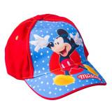 Sapca baieti Mickey 50-52 rosie cu albastru si buline albe