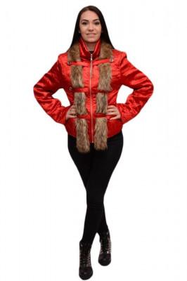 Jacheta rafinata, de culoare rosie cu blanita bej JA-2461-BE foto