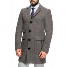 Palton Barbati Gri Smart Casual Lung din Tweed B125 Don