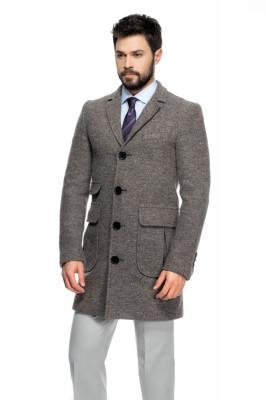 Palton barbati slim gri B125 foto
