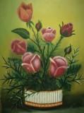 Tablou Trandafiri în vas ulei / carton, 31x23 cm, buchet de flori, Realism