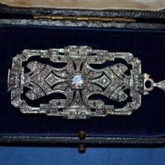 PANDANTIV (BROSA) AUR 18K - 76 Diamante = 3ct - Vintage - 1900 - ART DECO -12.5g