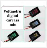Voltmetru digital cu leduri verzi, mic, 3.2-30 V, 3 digit, 2 fire, carcasa