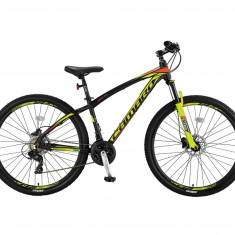 """Bicicleta MTB Umit Camaro 2D, Cadru 16"""" , 21 Viteze , Culoare Negru/Galben/PortoPB Cod:26610160003, Discuri"""