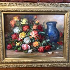 Natura statica cu vaza si trandafiri - Nicolae Pertache, Ulei, Realism