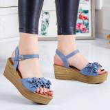 Sandale Aifari albastre cu flori -rl