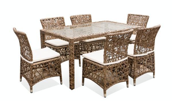 Set mobilier terasa,gradina RAKI KHAKI din ratan 7 piese masa dreptunghiulara si 6 scaune cu brate