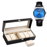 Cumpara ieftin Pachet caseta eleganta organizare si depozitare ceasuri cu 6 compartimente + ceas barbatesc clasic,elegant , model SLIM SUITS STYLE, cadran albastru