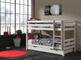 Pat etajat din lemn de pin cu 2 sertare, pentru copii Pino Small Alb, 200 x 90 cm