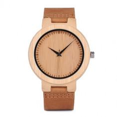 Ceas din lemn Bobo Bird cu curea din piele, D13 Wooden Lux