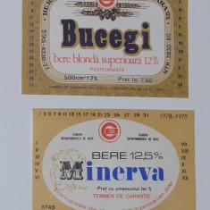Eticheta Bere - Lot 2 Etichete Bere Din Craiova: Minerva, Bucegi Anii '70