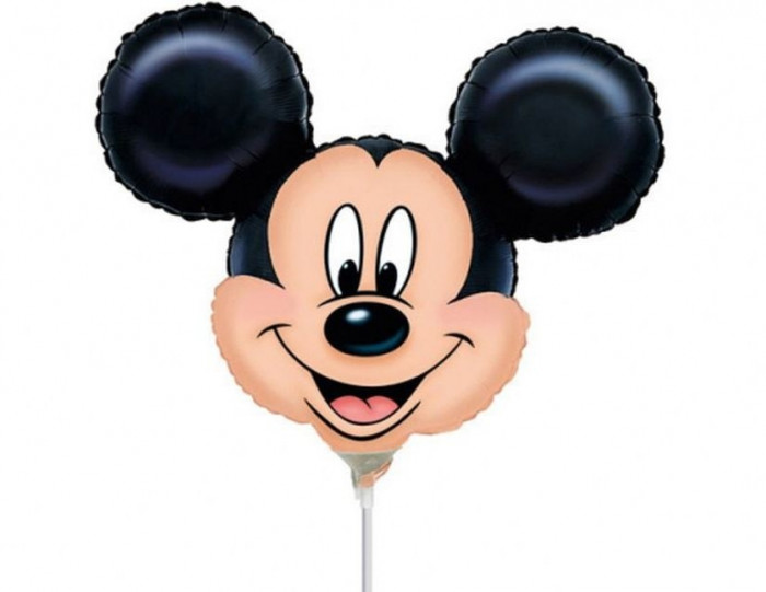 Balon Mini Figurina Mickey Mouse, 24 cm, umflat + bat si rozeta, 07889