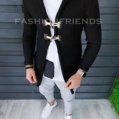 Cardigan barbati negru cu gluga slim fit ZR T3608