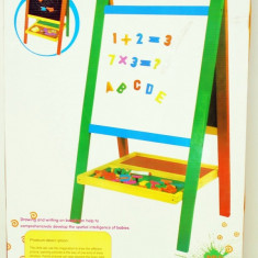 Tabla lemn cu 2 fete cu creta si burete - jucarie creativ educativa