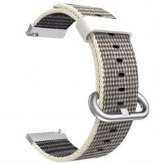 Curea material textil, compatibila Moto 360 46mm Generatia 2, telescoape Quick Release, 22mm, Gri