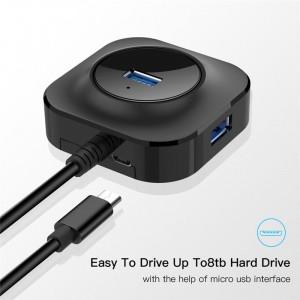 Hub USB cu 4 porturi USB 3.0 pentru PC / laptop, port micro USB de alimentare