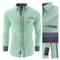 Camasa pentru barbati, verde, Slim fit, casual, cu guler - Catania, L, M, S