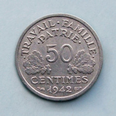 FRANTA  -  50 Centimes 1942  -  Vichy French State  -  aUNC