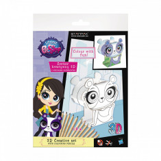 Set creativ 3D cu 12 creioane colorate Starpak, Littlest Pet Shop