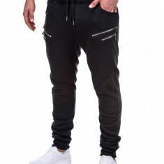 Pantaloni pentru barbati de trening, negru, fermoare decorative, banda jos, cu siret, bumbac - p422