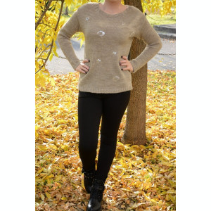 Bluza crem de toamna-iarna, cu design de paiete argintii in fata