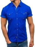 Cămașă pentru bărbat cu mâneca scurtă albastră Bolf 3275