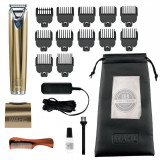 Aparat de tuns barba si parul corporal WAHL Gold Plated Limited Edition 9864-1416, 12 piepteni 0.2 mm, Otel inoxidabil, Auriu