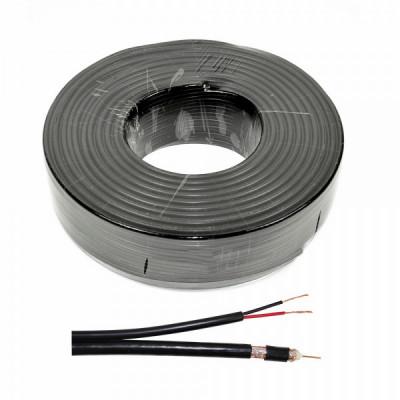 Cablu RG 59 coaxial cu alimentare 2x0.75, CUPRU 100%, rola 100 m foto
