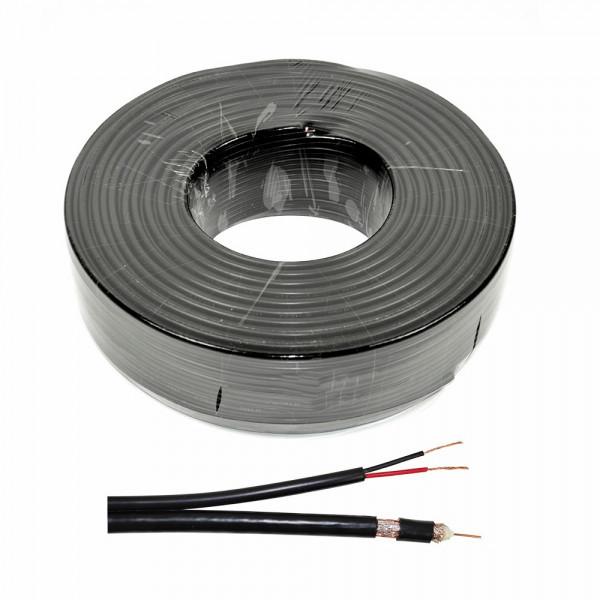Cablu RG 59 coaxial cu alimentare 2x0.75, CUPRU 100%, rola 100 m