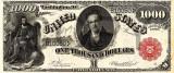 1000 dolari 1880 Reproducere Bancnota USD  ,   Dimensiune reala 1:1