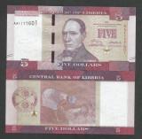 LIBERIA   5  DOLARI / DOLLARS  2016  UNC  [1]  P- 31a ,  necirculata