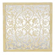 Oglinda de perete Ivy, lemn mango, alb/auriu, dimensiuni 60x60x3 cm