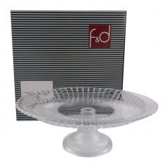 Fructiera cu picior F&D, sticla, ?32 cm, Transparent