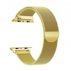 Curea magnetica Apple Watch, metalica, reglabila, aurie 42/44mm