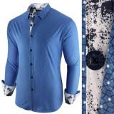 Camasa pentru barbati, albastru inchis, slim fit, casual - Epic, 3XL, L, M, S, XL, XXL, Maneca lunga