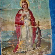 A755-Icoana catolica panza-Fecioara cu sabie si Sf. Anton cu Pruncul Iisus.