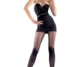 Ciorapi dama in nuanta de negru design cu aspect floral