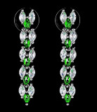 Cercei placati cu Aur 18K si Diamante, Maya Platinum & Green