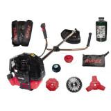 Set Motocoasa benzina RUPEZ RZT 4200, 4200W, 4 Discuri Inox + Tambur, Motor 56cc + Mosor cu fir + Ulei amestec 1L, ELEFANT