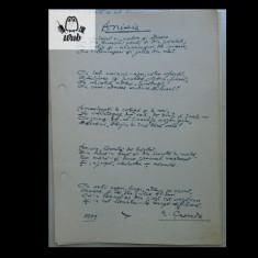 Manuscris/  Anisia - poem scris si semnat de Nicolae Crevedia